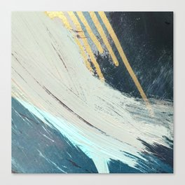 Karma: a bold abstract in blues and gold Canvas Print