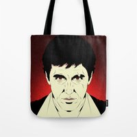 scarface Tote Bags featuring Scarface by Renan Lacerda