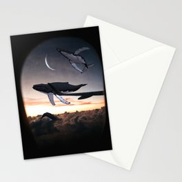 Whales Flying Above The Clouds-Looking Out The Window Stationery Cards