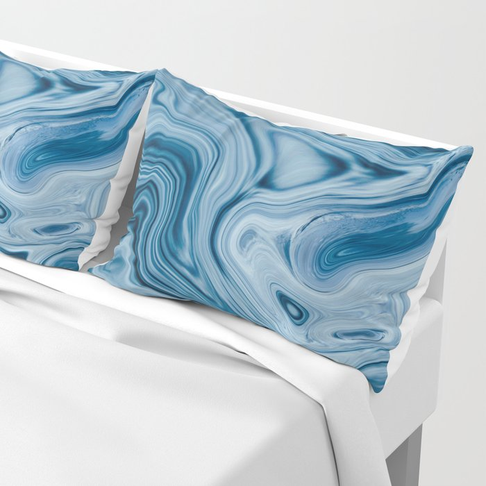 Splash of Blue Swirls, Digital Fluid Art Graphic Design Pillow Sham
