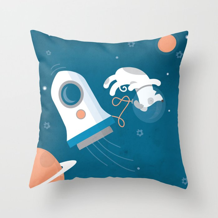 Darwin the Diddy Dog Diving into Deep Space Throw Pillow
