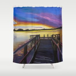 Shelley Bridge Sunset Shower Curtain