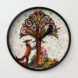 fox and crow Wall Clock