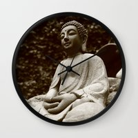 buddha Wall Clocks featuring Buddha by Falko Follert Art-FF77