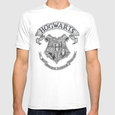 Hogwarts X-LARGE White Mens Fitted Tee