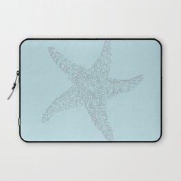 Starfish Bliss Black on Light Teal - Digital Art  Laptop Sleeve