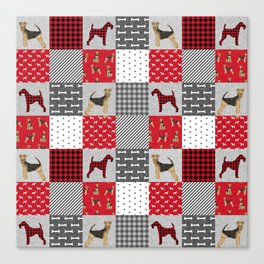 Airedale Terrier Cheater Quilt -  patchwork, airedale, dog, blanket, cute design Canvas Print