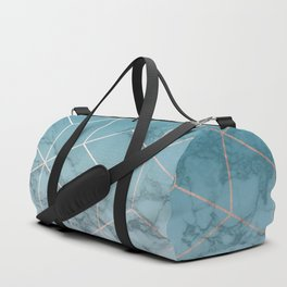 Gold Geometric Cubes Teal Marble Deco Design Duffle Bag