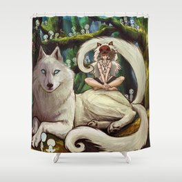 Wolf Princess in the Forest Shower Curtain