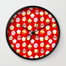 Dark Red Valentines Cup Cakes Wall Clock