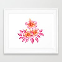 hibiscus Framed Art Prints featuring Hibiscus by Sanjana Baijnath