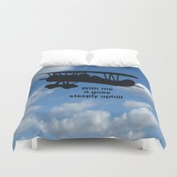 airplane Duvet Covers featuring airplane by Karl-Heinz Lüpke
