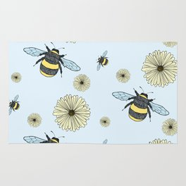 Bumble Bees and Flowers Rug