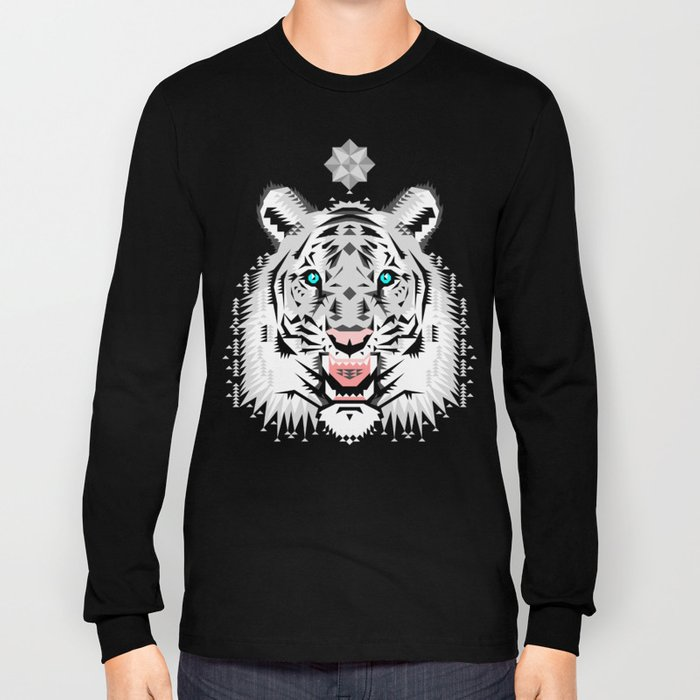 Silver Geometric Tiger Long Sleeve T-shirt