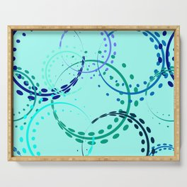 Pastel curls and circles of blue shades on the azure background. Serving Tray