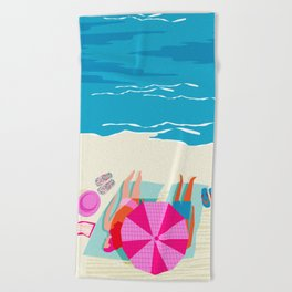 Toasty - memphis throwback minimal retro neon beach surfing suntan waves ocean socal pop art Beach Towel