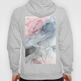 Pastel Blush, Grey and Blue Ink Clouds Painting Hoody