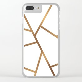 White and Gold Fragments - Geometric Design Clear iPhone Case