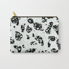 Triple Terrazzo - Mint Green Black & White Modern Speckle Pattern Carry-All Pouch