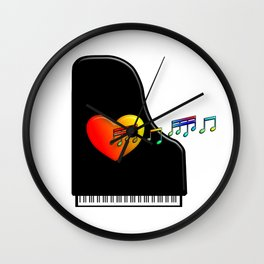 Singing Piano Heart. Wall Clock