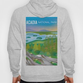 Acadia National Park, Maine - Skyline Illustration by Loose Petals Hoody