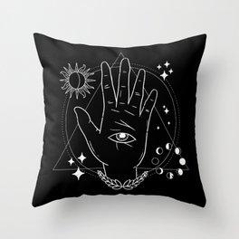 Aesthetic Hand Eye Universe Design Throw Pillow