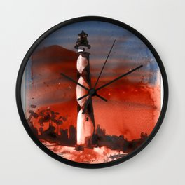 Fine art watercolor painting of Cape Lookout lighthouse Wall Clock