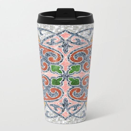 Blue Oriental Tile 03 Metal Travel Mug