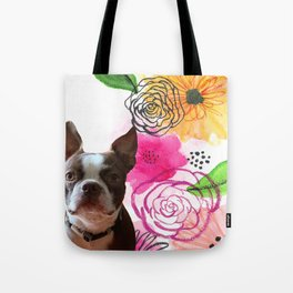 floral puppy Tote Bag