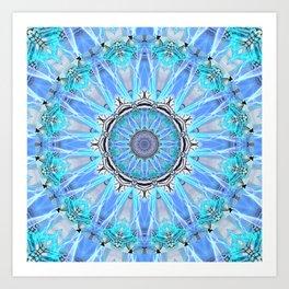 Sapphire Ice Flame, Light Bright Crystal Wheel Art Print