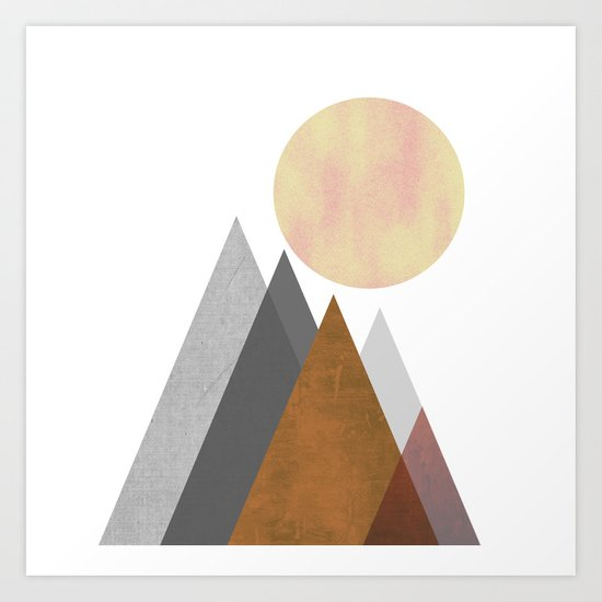 The Gathering, Geometric Landscape Art Art Print