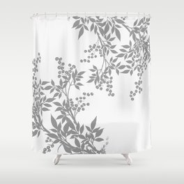 LEAF TOILE GRAY AND WHITE PATTERN Shower Curtain
