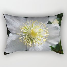 White Clematis Rectangular Pillow