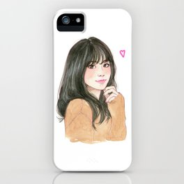 Pink heart - cute girl smiling iPhone Case