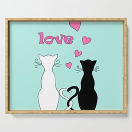 Couple cats with love Serving Tray