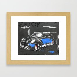 Scribble mini car on chalkboard Framed Art Print