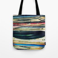 live Tote Bags featuring put your records on by Bianca Green