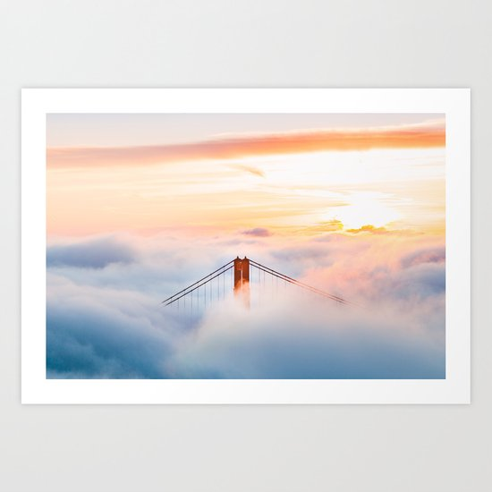 Golden Gate Bridge at Sunrise from Hawk Hill - San Francisco, California Art Print
