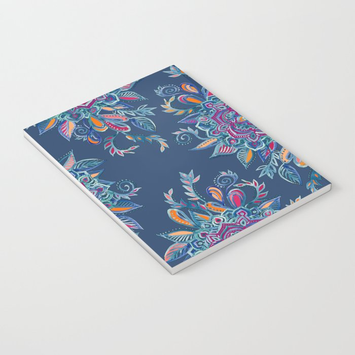 Deep Summer - Watercolor Floral Medallion Notebook
