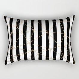 Black and White Stripes Gold Geometric Pattern Rectangular Pillow
