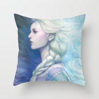 artgerm Throw Pillows featuring Frozen by Artgerm™