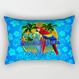 Island Time Surfing Blue Tropical Flowers Rectangular Pillow