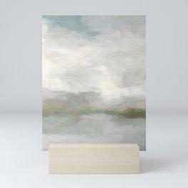 Modern Abstract Painting, Light Teal, Sage Green, Gray Cloudy Weather Digital Prints Wall Art, Ocean Mini Art Print
