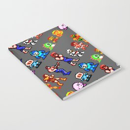 8-bit heroes (NES) | grey | retrogaming nostalgia Notebook