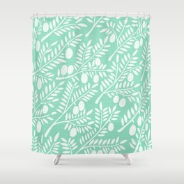 Mint Olive Branches Shower Curtain