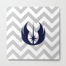 Jedi Order in Navy on Gray Chevrons Metal Print