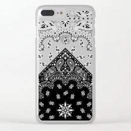 black and white bandana pattern Clear iPhone Case