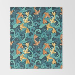 Gold fish origami Throw Blanket