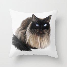 Neva-masquerade cat drawing Throw Pillow