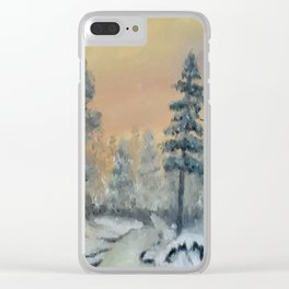 Winter Woods, Luna Smith, Scottish art, oil painting, Luart Gallery Clear iPhone Case